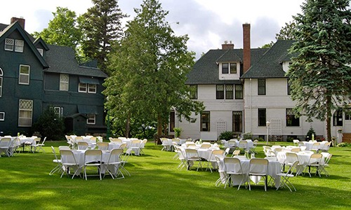 Elegant event happening on the pavilon of the Linden Hill estate in Little Falls, MN